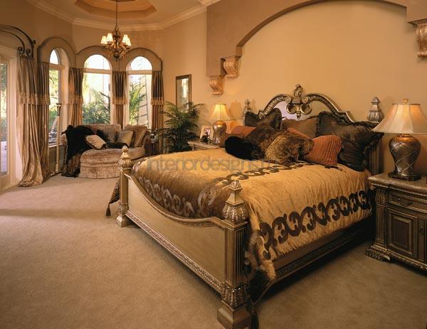 оформление роскошного интерьера спальни