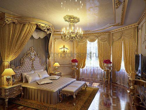 кровать в роскошной спальне