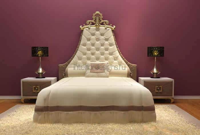 роскошный интерьер спальни с шикарной кроватью