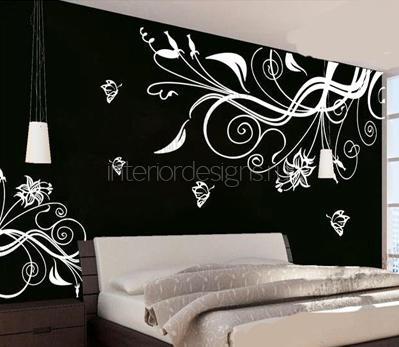 белые цветы на черном фоне