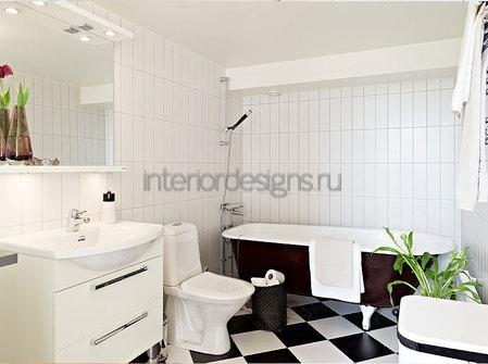 идеи для интерьера ванной в черно-белых цветах