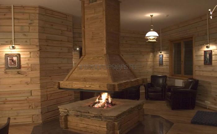 оригинальный подвесной камин из дерева