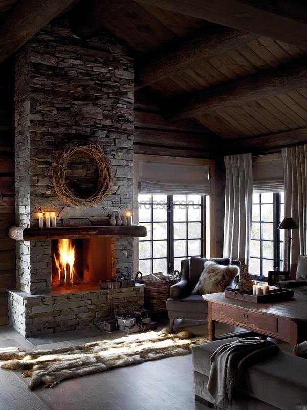 романтическая идея камина в гостиной комнате