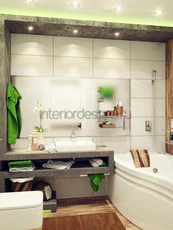 оформление дизайна ванной комнаты 150х135