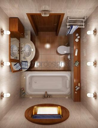 обустройство ванной комнаты 150х135