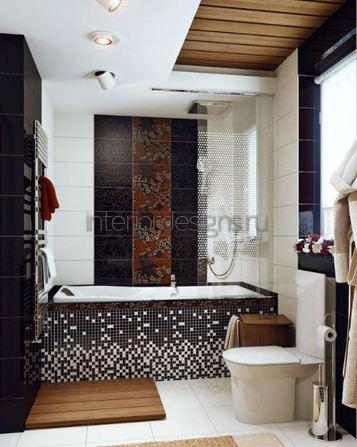 дизайн ванной комнаты с мозаичной отделкой