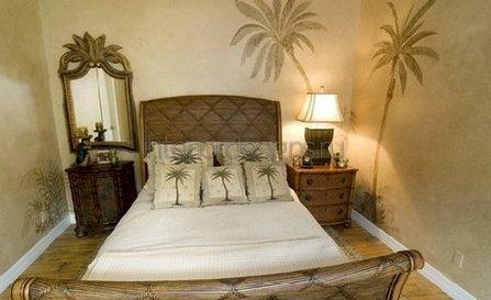 интерьер спальни с красивыми фотообоями