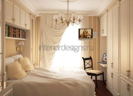 обустройство узкой спальни