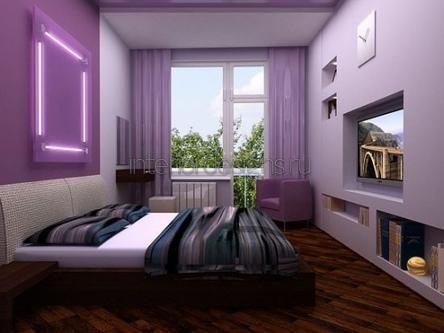 дизайн-проект узкой спальни
