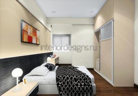 дизайн и проект узкой спальни
