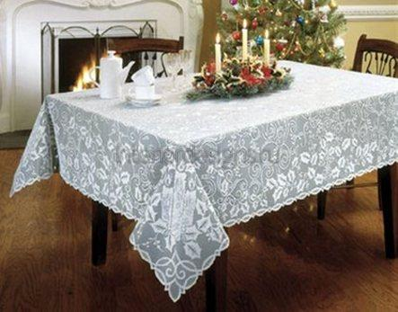 белая скатерть для столовой комнаты