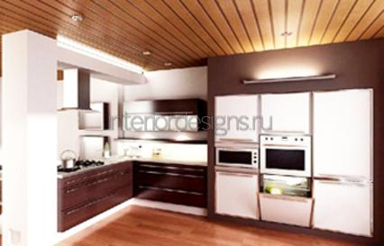 оформление дизайна потолка на кухне