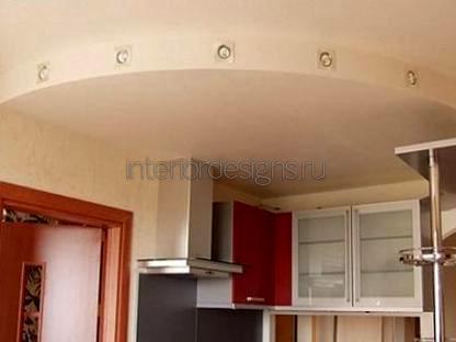 многоуровневые потолки на кухне