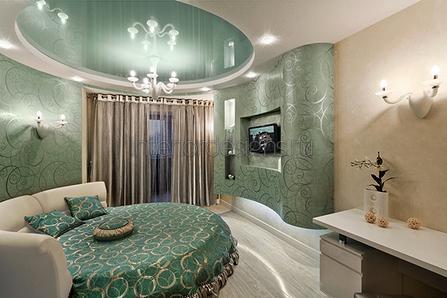 оформление комнаты с круглой двуспальной кроватью