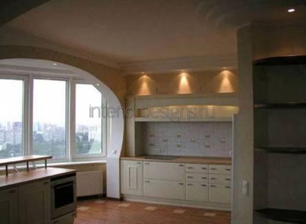 совмещенный дизайн кухни с балконом
