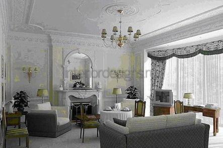 украшение гостиной формовочными планками