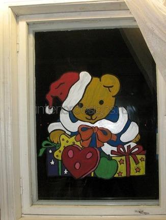 новогодний рисунок на стекле гуашью