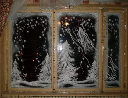 новогоднее декорирование окна