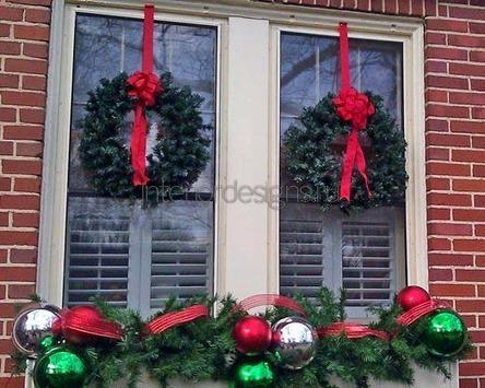 декор окна к Новому году