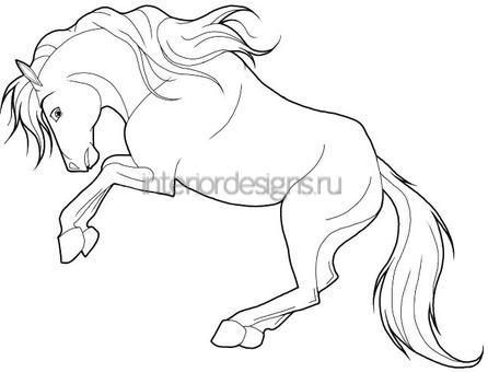 трафарет лошади для украшения окна