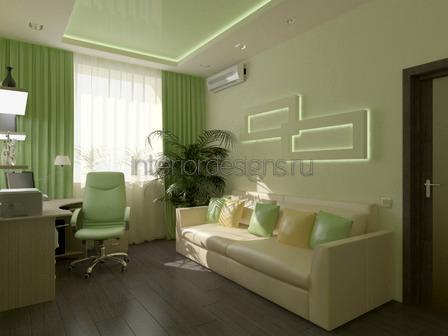 оформление комнаты в зеленом цвете