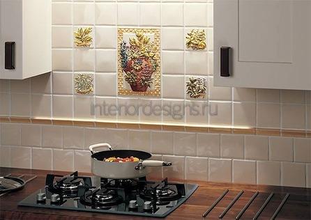 необычный дизайн плитки на кухне