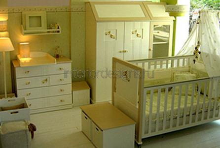 уютный интерьер детской для новорожденного