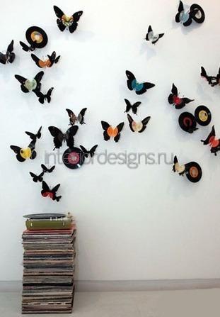 оригинальный декор стен бабочками