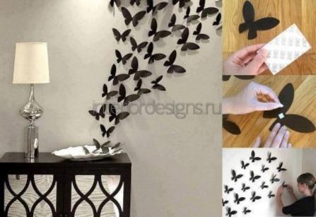 Декор стен бабочками своими руками: трафареты 53