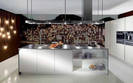 кухонная мебель цвета металлик