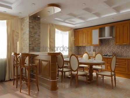 зонирование кухни-гостиной барной стойкой