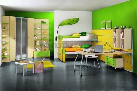 сочетание желтого с зеленым в помещении
