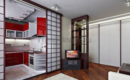 дизайн интерьера кухни с гостиной