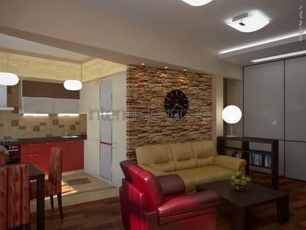 комбинированный интерьер кухни-гостиной