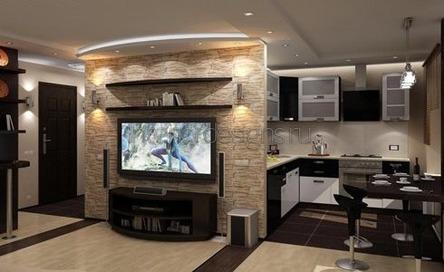 большая ТВ-стена в квартире