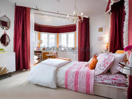 красивый дизайн спальни с эркером