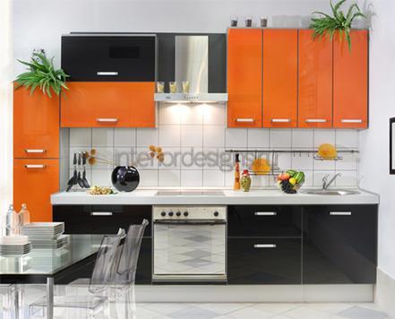 сочетание черного с оранжевым в интерьере