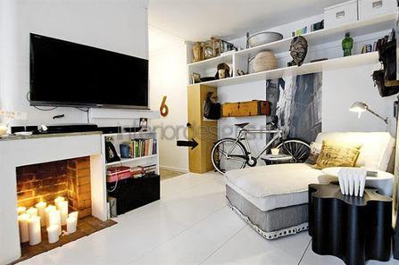 дизайн спальной комнаты с камином