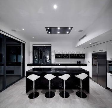 дизайн кухни в черно-белом цвете