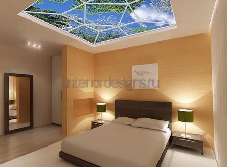 необычное оформление потолка в спальне