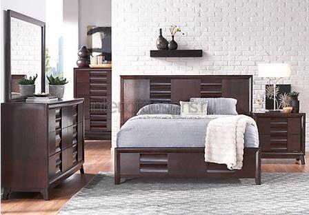 красивый дизайн спальни с темной мебелью