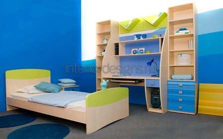 покраска стен в синий цвет