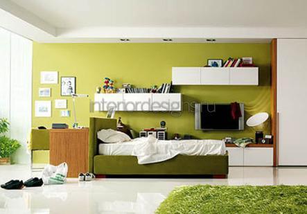 сочетание оливкового и белого в дизайне