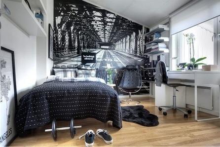 черно-белое оформление комнаты юноши