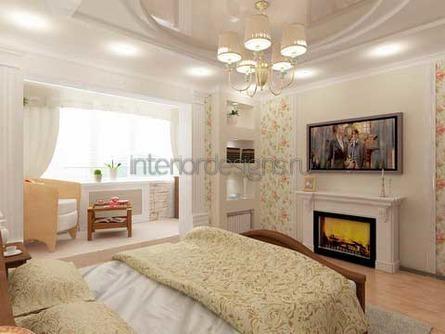 оригинальный дизайн спальни с балконом