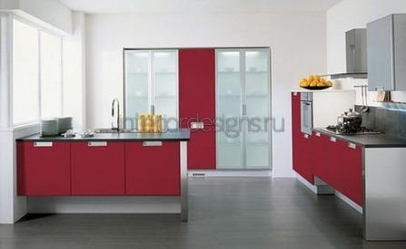 дизайн красных кухонь с фото