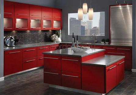 фото красных кухонь в интерьере