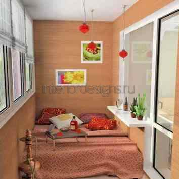 совмещенный дизайн спальни с лоджией