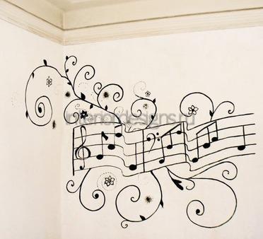 нотный стан на стене