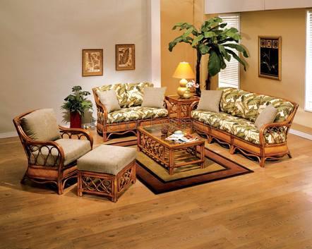 плетеный диван в зале